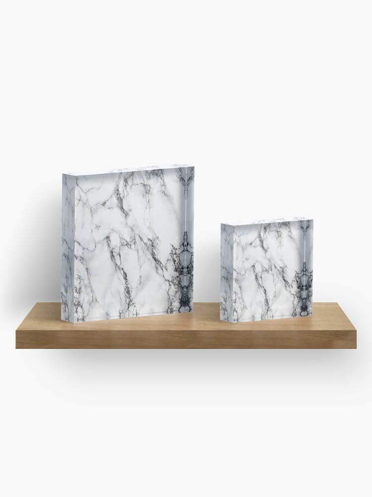 Alternate view of White Marble  Acrylic Block