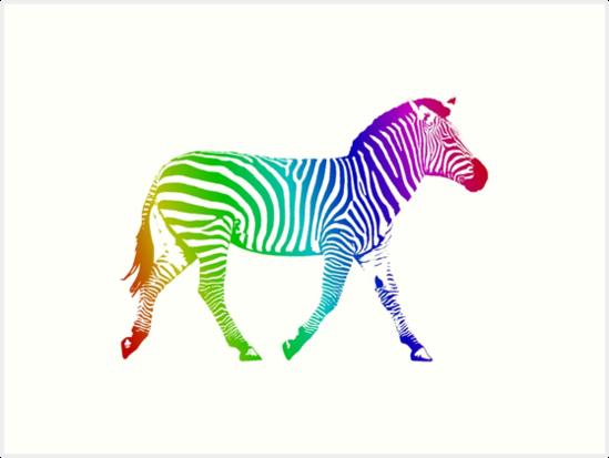 Studio Dalio - Rainbow Zebra Art Print