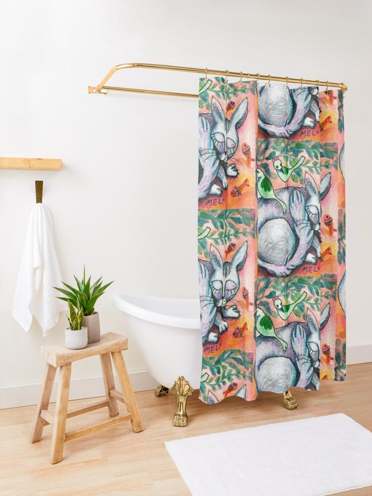 Alternate view of Sleepy Cat Shower Curtain