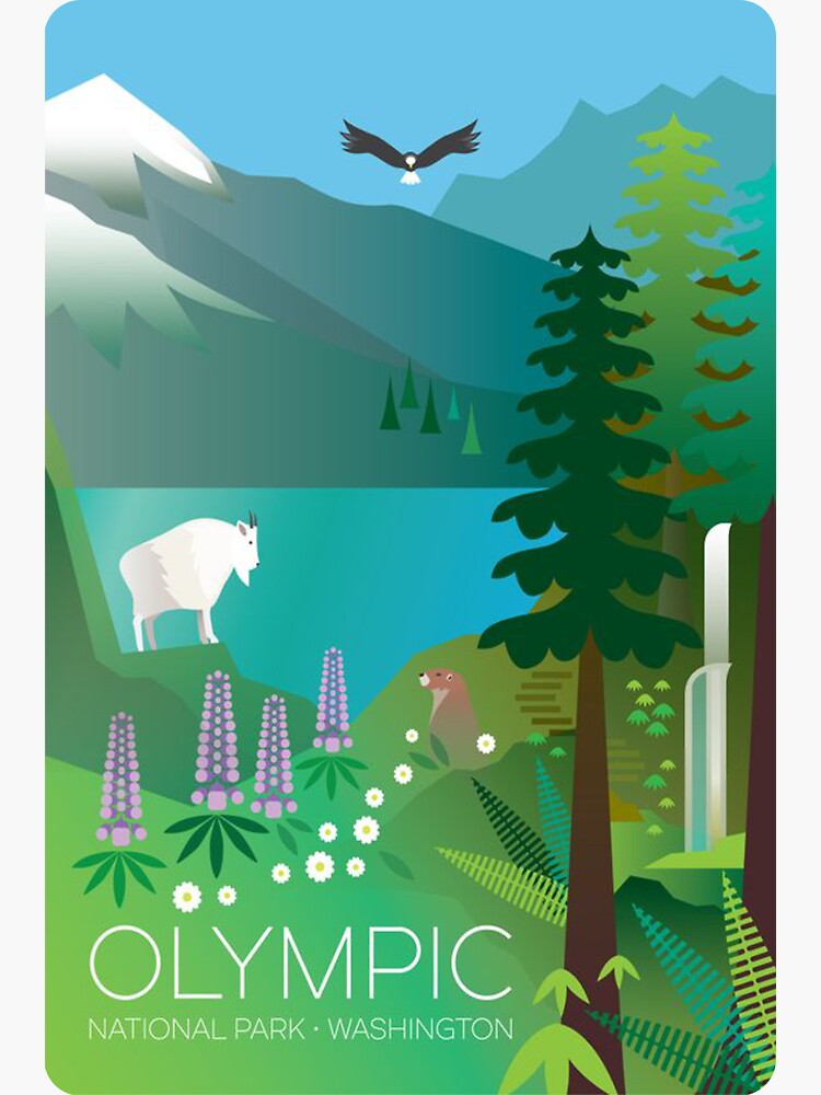 Olympic National Park Washington, USA Scenic Travel Decal by MeLikeyTees