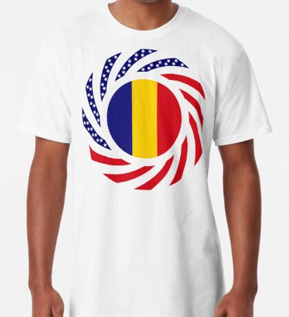 Romanian American Multinational Patriot Flag Series Long T-Shirt