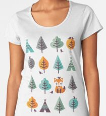 Fox in the Forest - on Gray Women's Premium T-Shirt