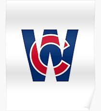 Cubs W Chicago Cubs W with Red/Blue C Poster