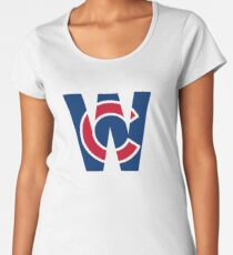 Cubs W Chicago Cubs W with Red/Blue C Women's Premium T-Shirt