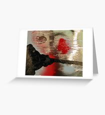 Red, Black, and Silver Abstract Greeting Card