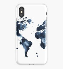 Watercolor map of the world (black and white) iPhone Case