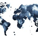 Watercolor map of the world (black and white) by Anastasiia Kucherenko