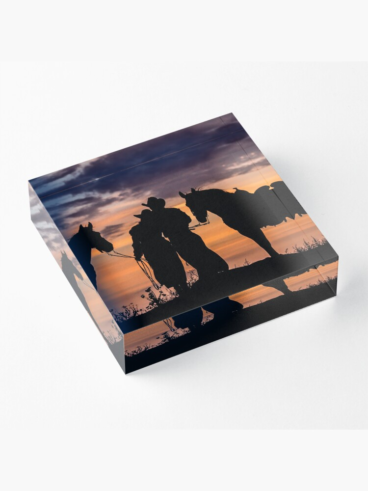 Alternate view of Cowboy, Cowgirl Sunset  Acrylic Block