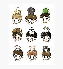 EXO OT9 and Pets Photographic Print