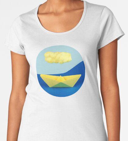 Die gelbe Wolke über dem gelben Schiff Frauen Premium T-Shirts