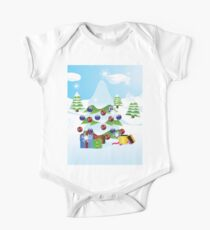 Christmas tree landscape One Piece - Short Sleeve