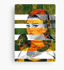 Frida Kahlo's Self Portrait with Monkey & Sophia Loren Canvas Print