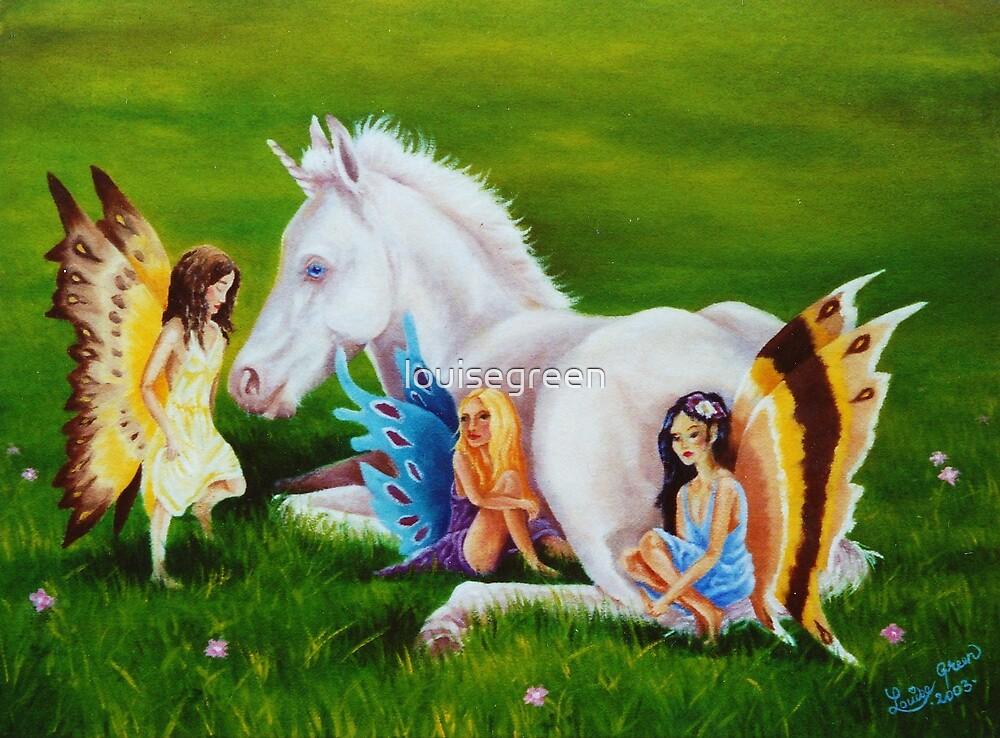 Unicorn Foal & Three Faeries by louisegreen