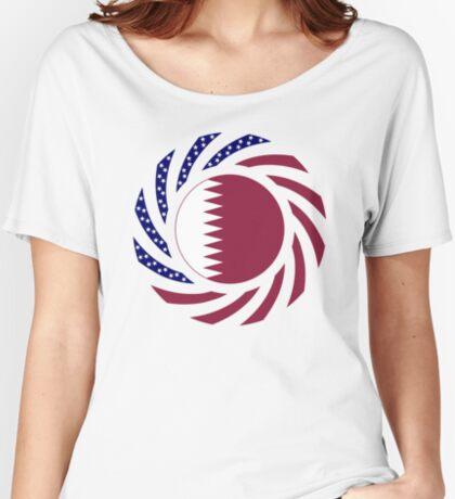 Qatari American Multinational Patriot Flag Series Relaxed Fit T-Shirt