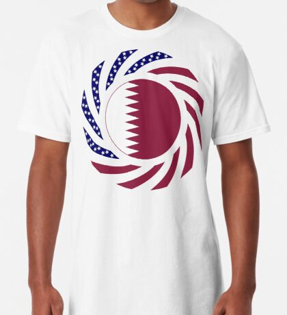 Qatari American Multinational Patriot Flag Series Long T-Shirt