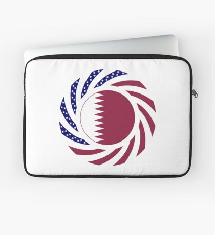 Qatari American Multinational Patriot Flag Series Laptop Sleeve