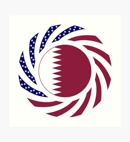 Qatari American Multinational Patriot Flag Series Art Print