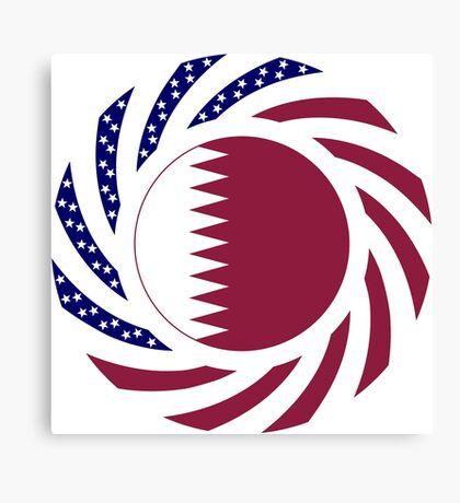 Qatari American Multinational Patriot Flag Series Canvas Print