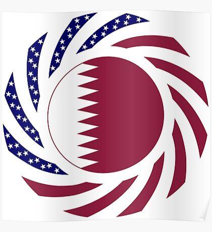 Qatari American Multinational Patriot Flag Series Poster