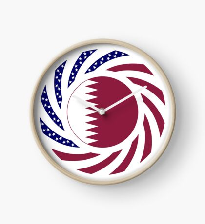 Qatari American Multinational Patriot Flag Series Clock