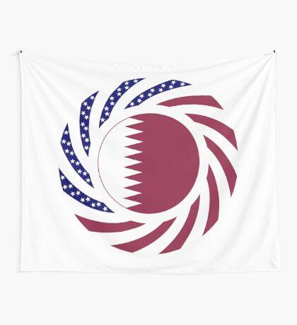 Qatari American Multinational Patriot Flag Series Wall Tapestry