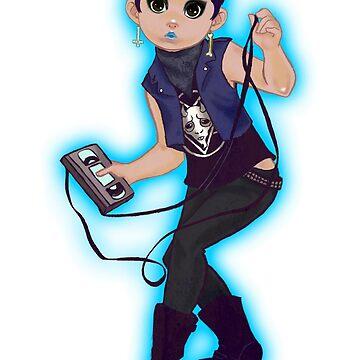VHS Punk Rock Girl T-Shirt  by MondoDellamorto