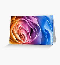 Rainbow Rose Macro Greeting Card