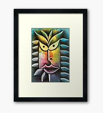 Face on colorful abstract background Framed Print