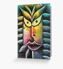 Face on colorful abstract background Greeting Card