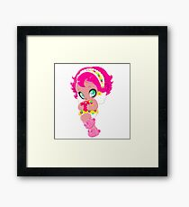 Cute funny girl with a heart Framed Print