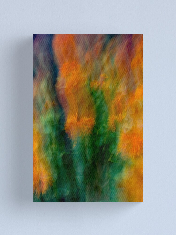 Alternate view of Fleur Blur-Abstract Orange Safflowers & Green Leaves Canvas Print