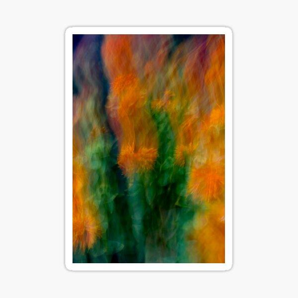 Fleur Blur-Abstract Orange Safflowers & Green Leaves Sticker