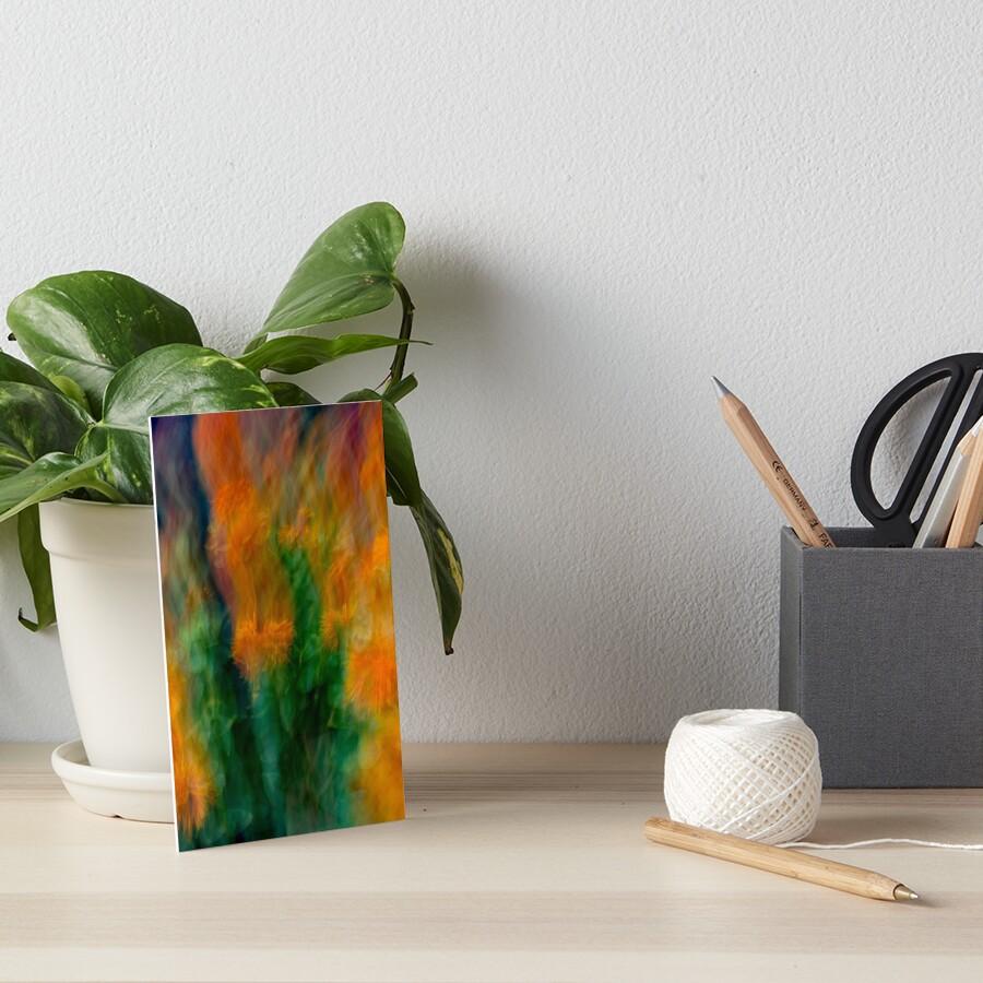 Fleur Blur-Abstract Orange Safflowers & Green Leaves Art Board Print