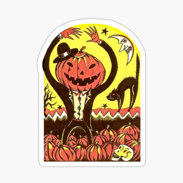 Halloween In The Pumpkin Field Sticker