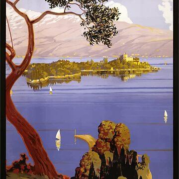 Vintage Travel Poster Lake Garda Italy 1924 by G-Design