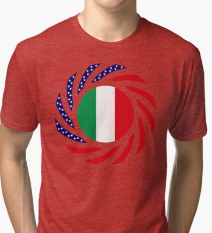 Italian American Multinational Patriot Flag Series Tri-blend T-Shirt