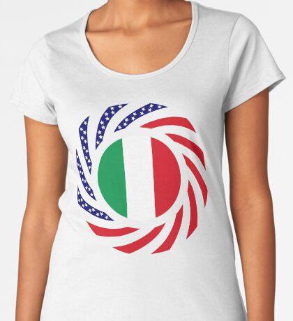 Italian American Multinational Patriot Flag Series Premium Scoop T-Shirt
