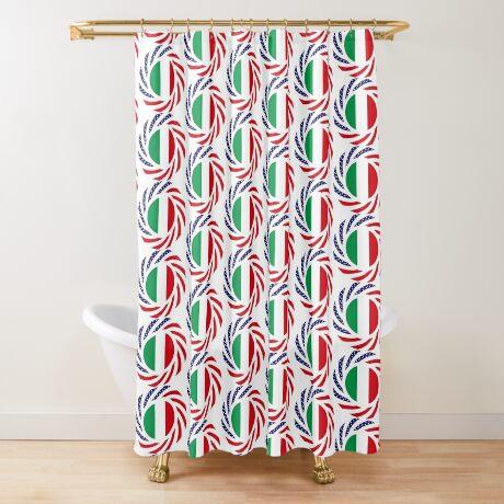 Italian American Multinational Patriot Flag Series Shower Curtain