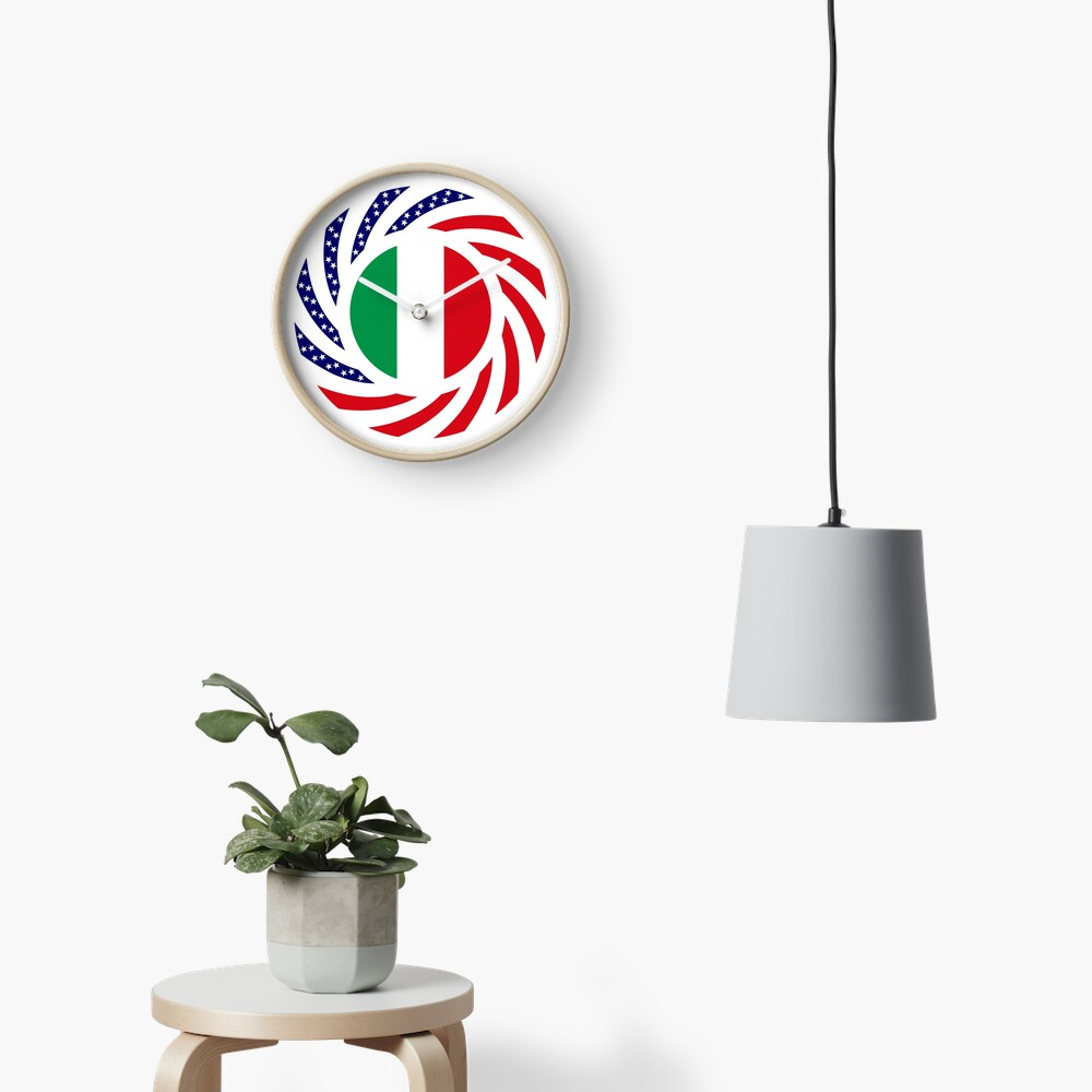 Italian American Multinational Patriot Flag Series Clock
