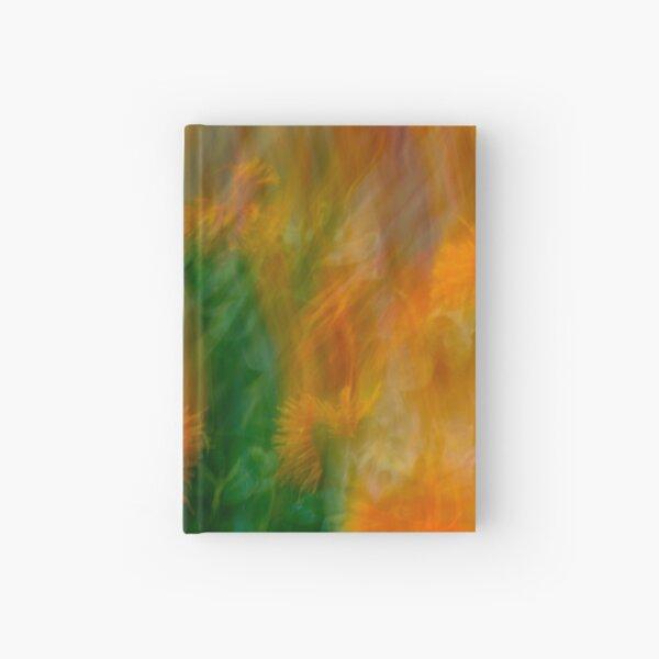Fleur Blur-Abstract Orange Safflowers & Green Leaves Hardcover Journal