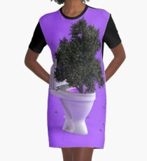 Toilet Tree Graphic T-Shirt Dress
