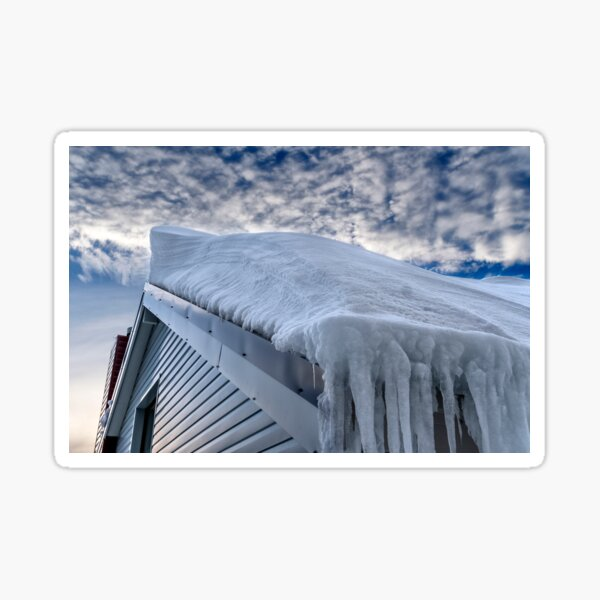 Snow covered roof at Mt Hotham Sticker