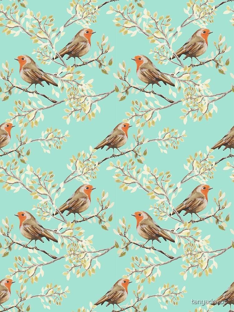 Vintage Robin Readbreast Art Pattern by tanyadraws