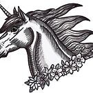 Unicorn with floral garland by Fiona Lokot