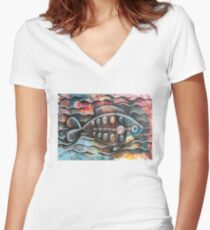 Fish on colorful abstract background Women's Fitted V-Neck T-Shirt