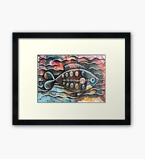 Fish on colorful abstract background Framed Print