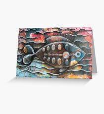 Fish on colorful abstract background Greeting Card