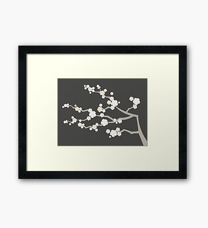 White Oriental Cherry Blossoms   Zen Japanese Sakura Flowers Framed Print