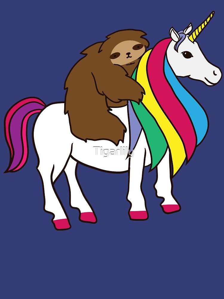 Cute Unicorn Sloth Rainbow Shirt For Girls Women by Tigarlily