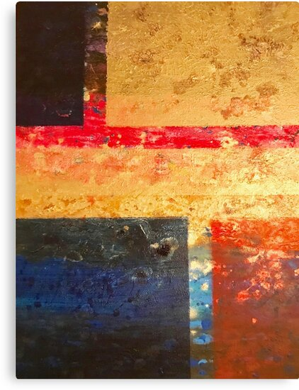 Gold Red & Blue Abstract Painting - Freedom by DPArtGallery